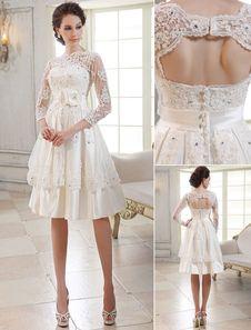 Vestido de novia de encaje con ojo de cerradura Milanoo