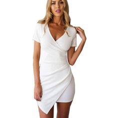 Women Slim Fitted Bodycon Mini Dress Wrap Dress Evening Party Dress