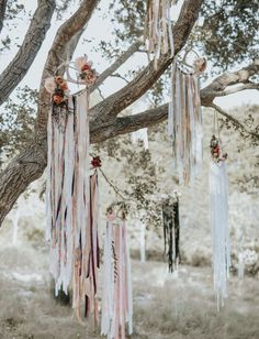 Romantic Santa Barbara Elopement Inspiration - Green Wedding Shoes - An eye-catcher on every boho wedding: DIY dreamcatcher made of lace. A combination of different dre - Trendy Wedding, Rustic Wedding, Wedding Vintage, Rever Mariage, Deco Champetre, Boho Wedding Decorations, Antler Wedding Decor, Whimsical Wedding Decor, Ceremony Backdrop