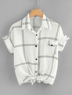 Knot Hem Plaid Shirt -SheIn(Sheinside)