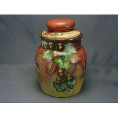 MZ Austria Acorn Motif Biscuit Jar/Canister (Signed Laird/Dated Xmas Dark Flowers, Autumn Decorating, Canisters, Acorn, Austria, Jars, Biscuits, Cookie, Arts And Crafts