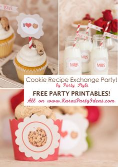 CUTE Cookie recipe exchange party with FREE PRINTABLE TAGS, CUPCAKE TOPPERS, WRAPPERS, RECIPE CARDS & MORE! Via Karas Party Ideas KarasPartyIdeas.com #free #printables #party #cookie #ideas #recipe #idea