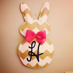 Burlap Easter Bunny chevron door hanger with monogram on Etsy, $30.00