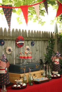 Vintage WWII Party~Tags: 4th of July, Fourth of July, fourth of july party, party decor, vintage, vintage decor, WWII inspiration