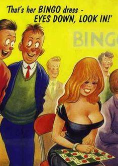 1960 Signed Bamforth comic Risqué Postcard bingo dress amorous ogling on Playboy Cartoons, Sexy Cartoons, Funny Cartoon Pictures, Cartoon Jokes, Cartoon Art, Bingo, Funny Postcards, Picture Postcards, Vintage Postcards