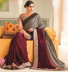 Maroon & Steel Grey Color Wrinkle Chiffon Function & Party Wear Sarees : Nirani Collection YF-30115