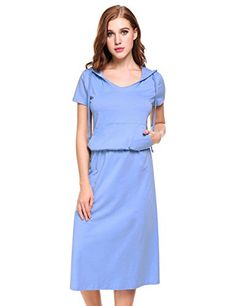 63304527c2 Women s Casual Short Sleeve Hoodie Pocket Blouson Maxi Dress