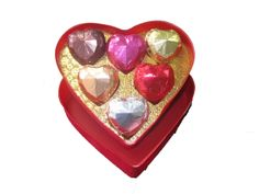 Six Diamante Chocolates in a Red Heart Shaped Box from Chocolate Ocean Heart Shaped Chocolate, Valentine Chocolate, Chocolates, Heart Shapes, Ocean, Romantic, Box, Gifts, Presents
