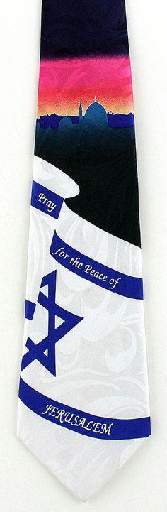 New Pray For Peace Of Jerusalem Mens Necktie Jewish Holiday Religious Neck Tie #StevenHarris #NeckTie