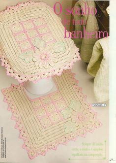 Crochê da Reh: Jogo de Banheiro Flores Rosa                                                                                                                                                                                 Mais