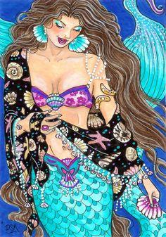 SEASHELL SHAWL mermaid 4x6 print by DianaMartinStudio on Etsy