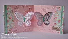 Helen Cryer using the Pop it Ups Butterfly Pivot Card, Paris Edges and Butterfly Accessory die sets by Karen Burniston for Elizabeth Craft Designs. - The Dining Room Drawers: Pop It Ups Butterfly Pivot Card (Elizabeth Craft Designs) & Paris Edges