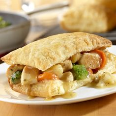 Using convenience products like puff pastry sheets,purchased gravy and a frozen vegetable combinationmakes these enjoyable pot pies easy enough for everyday cooking. Comments