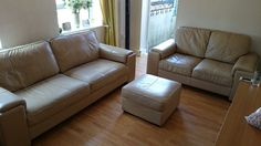 Three Piece Leather Suite Sofa, Couch, Leather, Ebay, Furniture, Ideas, Home Decor, Settee, Settee
