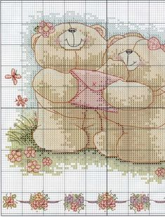 Schema punto croce Bears With Envelope 2