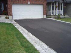 flagstone border along asphalt driveway - Google Search
