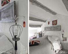 Deux baladeuses de réédition Chehoma encadrent un lit en guise de lampes de chevet    Benedicte's home (Clair de Lune-Uzès)