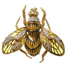 """Corletto Vintage 18K Gold Diamond Plique A Jour Enamel Bee Pin Brooch. Price: One-Thousand-Six-hundred dollars.""""This fabulous circa 1960s bee-shaped brooch is exquisitely crafted in textured 18k yellow gold and features a black & yellow enamel body with Plique-A-Jour yellow wings and sparkling diamond accents pave-set in 18k white gold. Stamped Corletto for maker."""