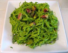 Raw Vegan Pesto Pasta over Zucchini or Kelp Noodles by Elaine Love