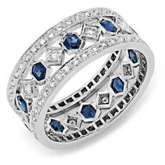 www.bkgjewelry.co… Diamond and Blue Sapphire Ring