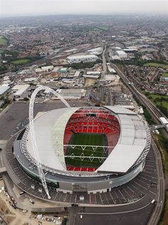Goal!    An aerial view of Wembley Stadium, which will host soccer events during the 2012 Games.