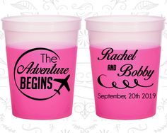 The Adventure Begins, Promotional Mood Stadium Cups, Destination, Travel Wedding, Plane, Magenta Mood Cups (277)