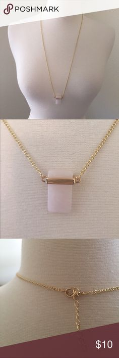 (G12) Pink Quartz Necklace ♡Brand: N/A ♡Size: One Size  ♡Fits like: ♡Condition: NWT retail  ♡Features: Minimalist/chic pink Quartz held by a gold tone setting.   ☁︎Please read my bio! ☁︎Please ask all questions! ☁︎Measurements and modeling available.  ☁︎Smoke free, pet friendly home.  ☁︎Reasonable offers accepted through the offer button.  ☁︎Ask about my custom bundle deals! ☁︎No trades! Jewelry Necklaces