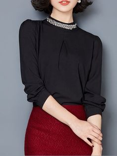Plain Beading Chic Band Collar Blouses