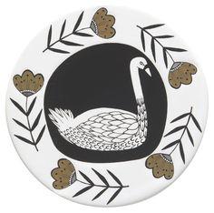 Danica Studio Ceramic Coasters, Set of Four, Wild Tale Swan Float, Ceramic Coasters, Coaster Set, Swans, Creatures, Ceramics, Cork, Texture, Florals