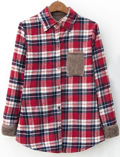 Red Blue Plaid Blouse - cute idea to add to a flannel shirt.