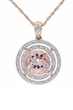 10K Rose Gold Double Diamond Halo Morganite Pendant Necklace - 0.20 ctw by Delmar on @HauteLook