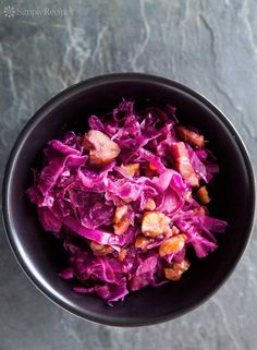 Braised Red Cabbage with Chestnuts ~ Sweet and sour red cabbage, cooked with bacon, apples, onions, and roasted chestnuts. Great holiday side! ~ SimplyRecipes.com