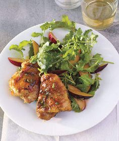 Grilled Honey-Mustard Chicken With Arugula and Plum Salad   Six finger-lickin' new ways to serve the old standby—all easy enough for weeknights, nice enough for guests.