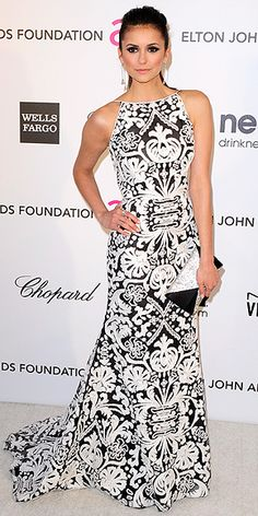 Nina Dobrev in a black and white design  gown by Naeem Khan! Beautiful!