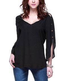 Another great find on #zulily! Black Button-Sleeve V-Neck Top by Zuri Zuri by Flora #zulilyfinds