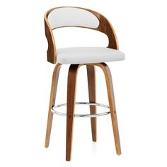 Alicia Walnut Bar Stool White features a stylish bentwood backrest, with white faux leather contrasting nicely against the wood.