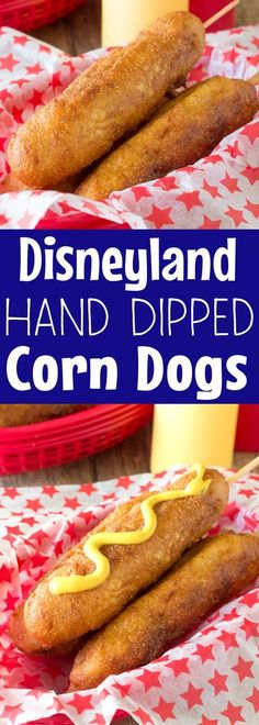 Try this with sourdough - These Disneyland-Style Hand Dipped Corn Dogs are covered with a thick cornbread coating and fried to golden brown perfection. It's just like they make them on Main Street at Disneyland's Little Red Wagon. Corndog Recipe, Tapas, Carnival Food, Good Food, Yummy Food, Hot Dog Recipes, Copycat Recipes, Kids Meals, Food To Make