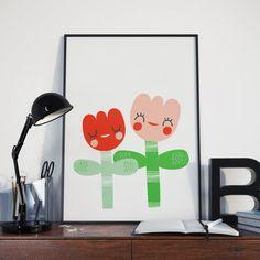 Cute Flower Friends A4 Giclee Print Wall by BettyjoyGeneralStore