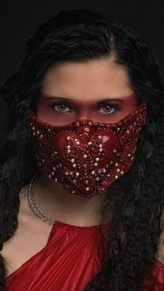 Items similar to Sacred heart mouth guard, mouth mask, mouth piece,red heart mask, made in blood red adorned with crystals. One Of A Kind on Etsy Nose Mask, Diy Face Mask, Face Masks, Mouth Mask Fashion, Fashion Face Mask, Blood Red Color, Red Mask, Protective Mask, Fantasy Jewelry