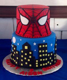 Made this 2 tier Spider-Man City cake. Superhero Cake, Superhero Birthday Party, 4th Birthday, Birthday Cake, Birthday Parties, Birthday Ideas, 2 Tier Cake, Tiered Cakes, Marvel Cake