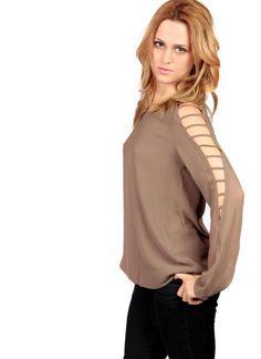 Brown Three-Quarter/Long Sleeve Top - Brown Long Sleeve Top with   UsTrendy