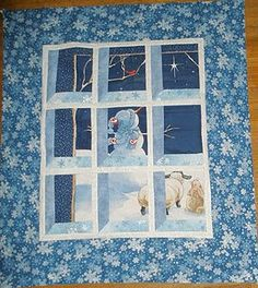 This snowman quilt is a classic attic window quilt pattern using a winter panel. What a cute winter quilt! Tutorial by Marija Vujcic from Fabric of My Life