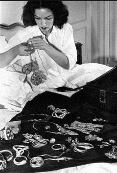 Maria Felix at home with some of her awesome jewelry, Mexico. Renoir, Yves Montand, Maria Dolores, Lupe Velez, Jean Gabin, Mexican Actress, Badass Women, Mexican Style, Historical Pictures