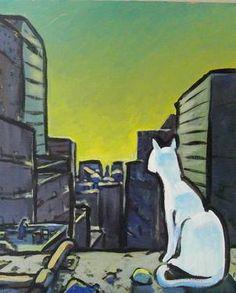 "Saatchi Art Artist Eric Le Hénand; Painting, ""White cat"" #art 18.1 H x 14.8 W $215"
