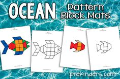 FREE Ocean Pattern Block Mats- terrific as motivational activities. Give a block for each response. Preschool Themes, Preschool Lessons, Classroom Themes, Preschool Math, The Ocean, Ocean Life, Ocean Habitat, Ocean Projects, Pre K Activities