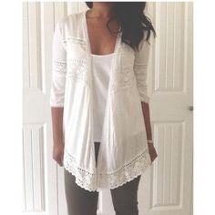 "Selling this ""White crochet cardigan"" in my Poshmark closet! My username is: dollface86. #shopmycloset #poshmark #fashion #shopping #style #forsale #Sweaters"