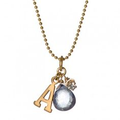 Blue Quartz Choose Your Initial Charm Necklace   $65