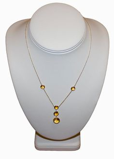 "#5 Necklace  18"" 14KT Yellow Gold Necklace: Citrine"