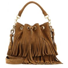 Saint Laurent - Emmanuelle Classic Small fringed suede bucket bag - t. The petite style is coloured in a chic shade of tan and features retro fringing that's perfectly in keeping with the season's '70s undercurrent. - @ www.mytheresa.com