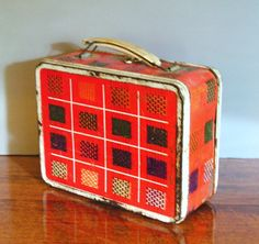Antique Lunch Boxes | Vintage Lunch Box Metal red plaid Ohio Art by hurstdesigns on Etsy